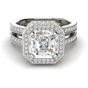Split Shank Pave 3.5 Carat VS1 Clarity F Color Asscher Cut Diamond Engagement Ring White Gold 3