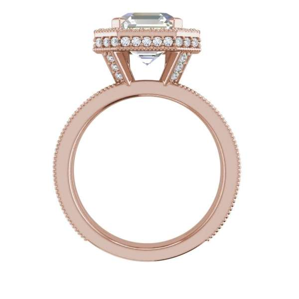 Split Shank Pave 4 Carat VS2 Clarity H Color Asscher Cut Diamond Engagement Ring Rose Gold 2