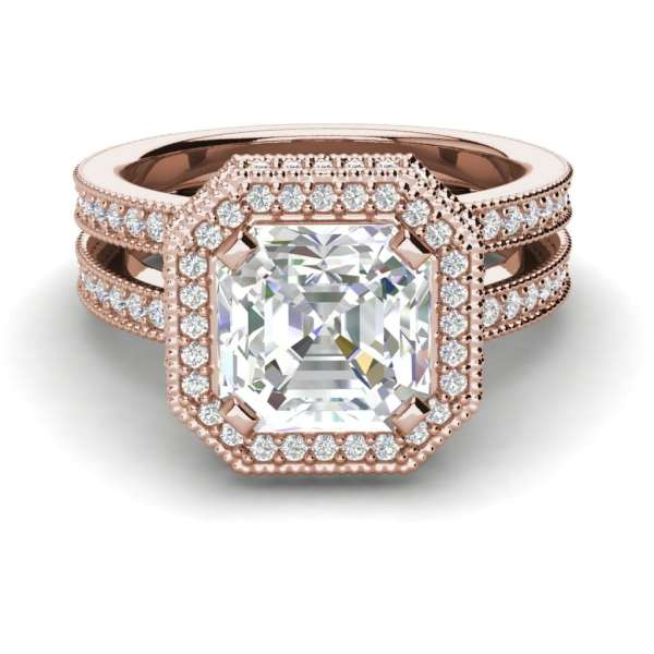 Split Shank Pave 4 Carat VS2 Clarity H Color Asscher Cut Diamond Engagement Ring Rose Gold 3