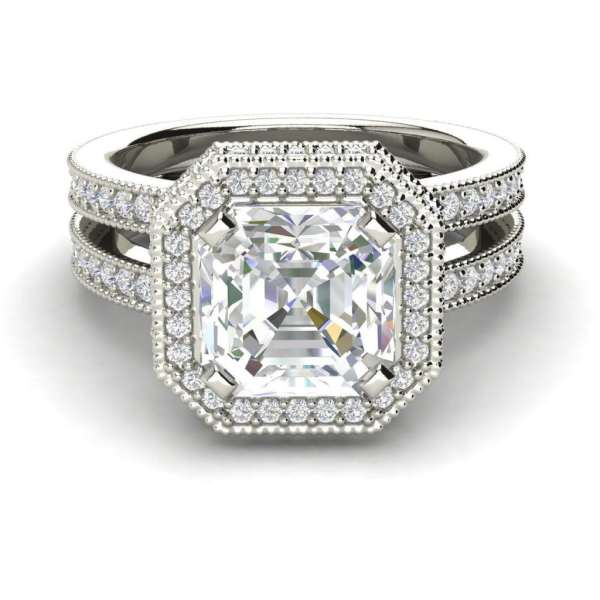 Split Shank Pave 4 Carat VS2 Clarity H Color Asscher Cut Diamond Engagement Ring White Gold 3