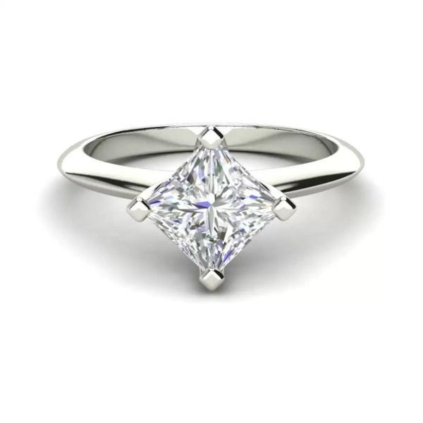 4 Prong 0.75 Carat VS1 Clarity F Color Princess Cut Diamond Engagement Ring White Gold 3