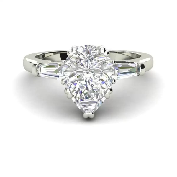 Baguette Accents 1 Ct VVS1 Clarity D Color Pear Cut Diamond Engagement Ring White Gold 3