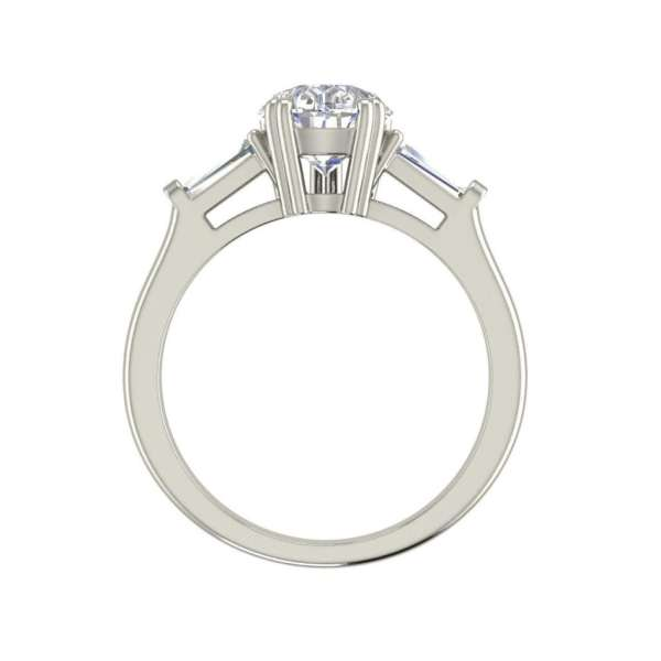 Baguette Accents 1.25 Ct VVS1 Clarity D Color Pear Cut Diamond Engagement Ring White Gold 2