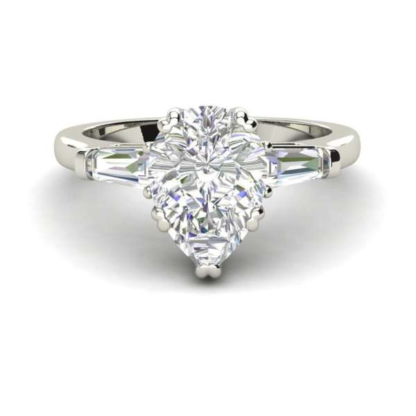 Baguette Accents 1.25 Ct VVS1 Clarity D Color Pear Cut Diamond Engagement Ring White Gold 3