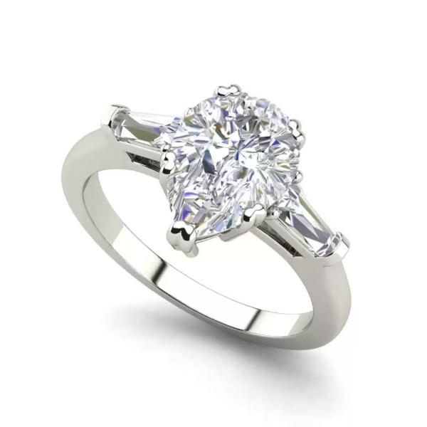 Baguette Accents 1.25 Ct VVS1 Clarity D Color Pear Cut Diamond Engagement Ring White Gold