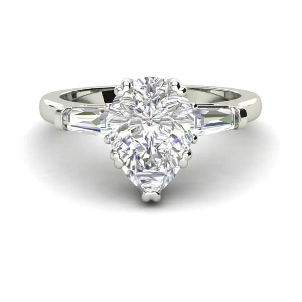 Baguette Accents 2 Ct VVS1 Clarity D Color Pear Cut Diamond Engagement Ring White Gold 3