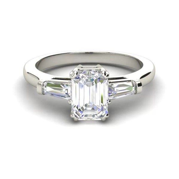 Baguette Accents 3 Ct VVS2 Clarity F Color Emerald Cut Diamond Engagement Ring White Gold 3
