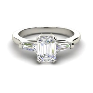 Baguette Accents 3 Ct VVS2 Clarity F Color Emerald Cut Diamond Engagement Ring White Gold 3