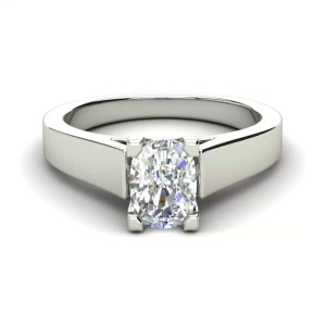Cathedral 0.9 Carat VS2 Clarity H Color Oval Cut Diamond Engagement Ring White Gold 3