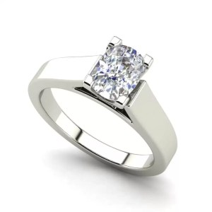 Cathedral 2.5 Carat VS2 Clarity H Color Oval Cut Diamond Engagement Ring White Gold