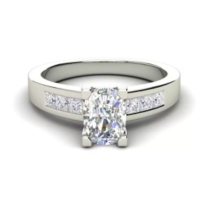 Channel Set 2.95 Carat VS2 Clarity F Color Oval Cut Diamond Engagement Ring White Gold 3