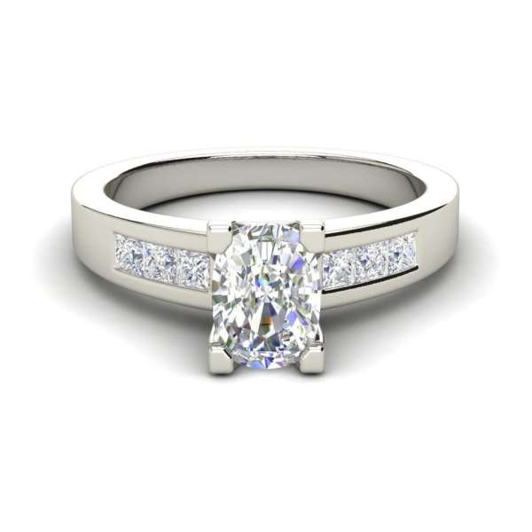 Channel Set 3.45 Carat VS2 Clarity D Color Oval Cut Diamond Engagement Ring White Gold 3