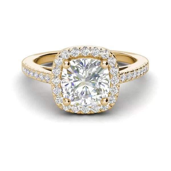 Halo 2.95 Carat VS2 Clarity H Color Cushion Cut Diamond Engagement Ring Yellow Gold 3