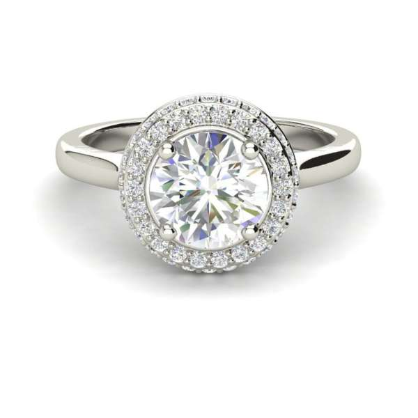 Halo Pave 1.15 Carat SI1 Clarity D Color Round Cut Diamond Engagement Ring White Gold 3