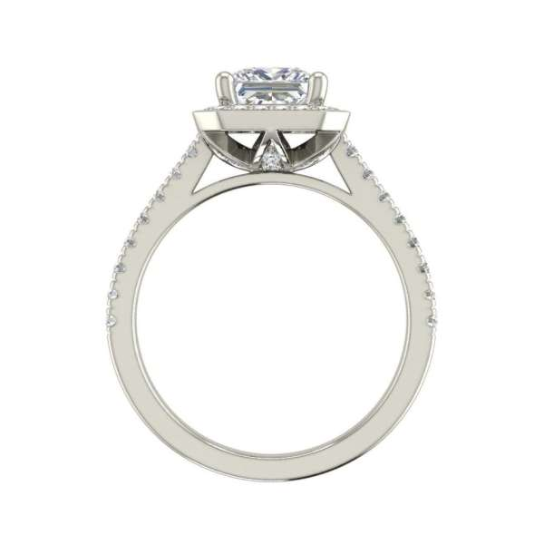 Halo Pave 2.45 Carat VS2 Clarity D Color Princess Cut Diamond Engagement Ring White Gold 2
