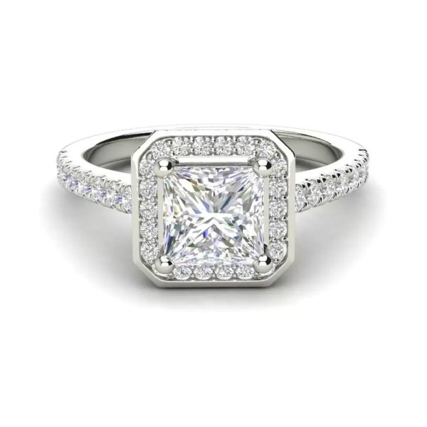 Halo Pave 2.45 Carat VS2 Clarity D Color Princess Cut Diamond Engagement Ring White Gold 3