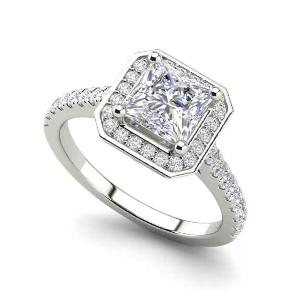 Halo Pave 3.2 Carat VS1 Clarity D Color Princess Cut Diamond Engagement Ring White Gold