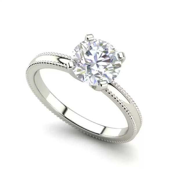 Milgrain Solitaire 0.75 Ct SI1 Clarity F Color Round Cut Diamond Engagement Ring White Gold