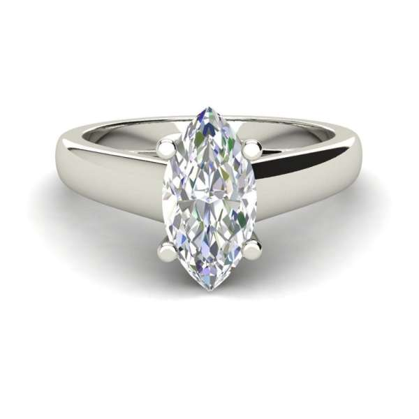 Solitaire 0.5 Carat VS2 Clarity H Color Marquise Cut Diamond Engagement Ring White Gold 3