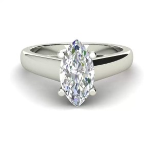 Solitaire 0.5 Carat VVS1 Clarity D Color Marquise Cut Diamond Engagement Ring White Gold 3