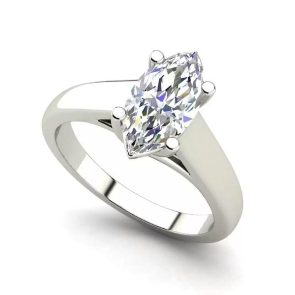 Solitaire 0.5 Carat VVS1 Clarity D Color Marquise Cut Diamond Engagement Ring White Gold