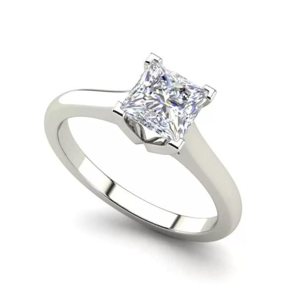 Solitaire 2.5 Carat VVS1 Clarity D Color Princess Cut Diamond Engagement Ring White Gold