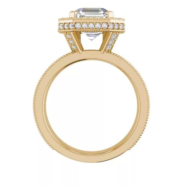 Split Shank 2 Carat VS1 Clarity H Color Asscher Cut Diamond Engagement Ring Yellow Gold 2