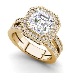 Split Shank 2.15 Carat SI1 Clarity F Color Asscher Cut Diamond Engagement Ring Yellow Gold