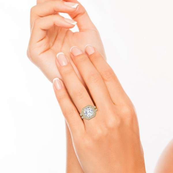 Split Shank 3.5 Carat VS1 Clarity F Color Asscher Cut Diamond Engagement Ring Yellow Gold 4