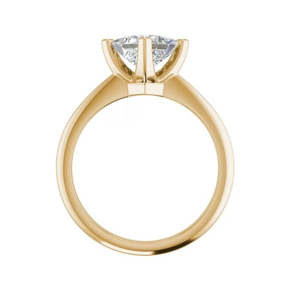 4 Prong 0.75 Carat VS1 Clarity F Color Princess Cut Diamond Engagement Ring Yellow Gold 2