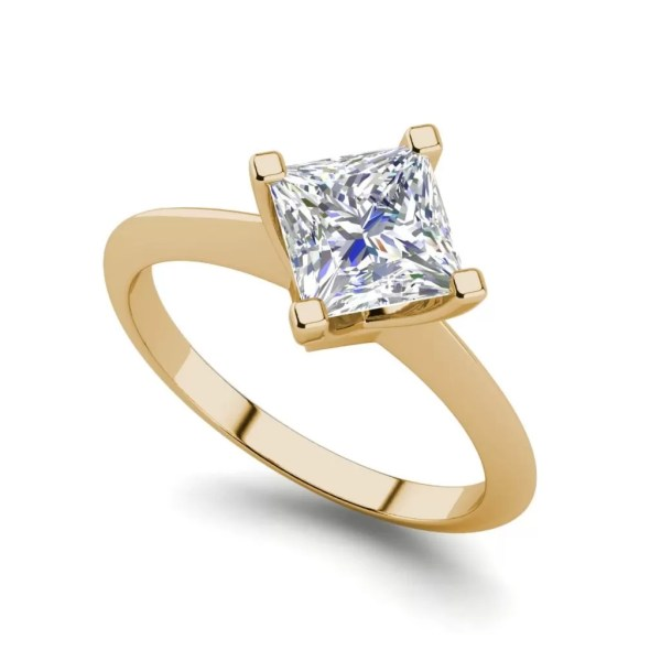 4 Prong 0.75 Carat VS1 Clarity F Color Princess Cut Diamond Engagement Ring Yellow Gold