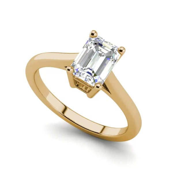 4 Prong 2.25 Carat VS2 Clarity D Color Emerald Cut Diamond Engagement Ring Yellow Gold