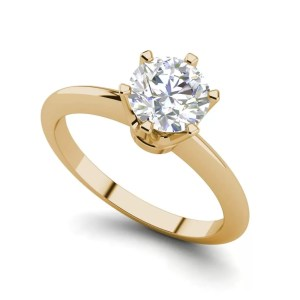 6 Prong Solitaire 1.5 Carat VS2 Clarity D Color Round Cut Diamond Engagement Ring Yellow Gold