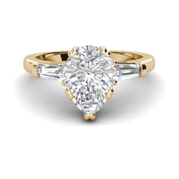 Baguette Accents 2.5 Ct VVS1 Clarity D Color Pear Cut Diamond Engagement Ring Yellow Gold 3