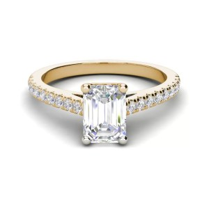 Classic Pave 2.7 Carat VVS1 Clarity D Color Emerald Cut Diamond Engagement Ring Yellow Gold 3