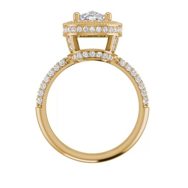 Halo 2.25 Carat VS2 Clarity F Color Cushion Cut Diamond Engagement Ring Yellow Gold 2