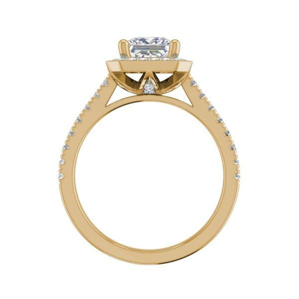 Halo Pave 0.95 Carat VS2 Clarity H Color Princess Cut Diamond Engagement Ring Yellow Gold 2