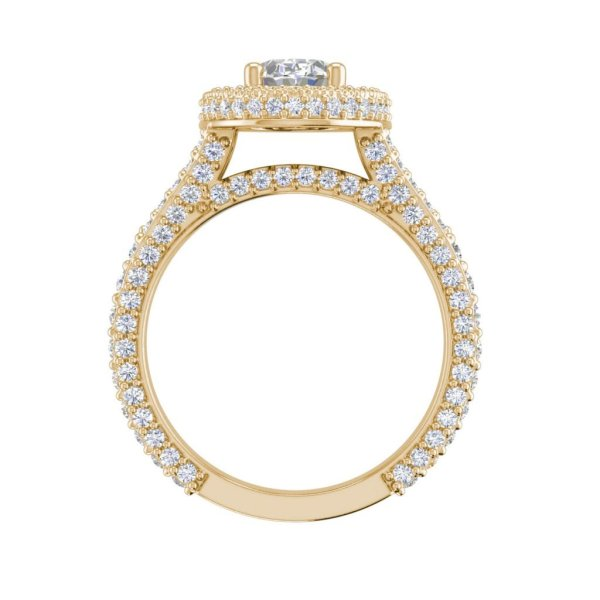 Pave Halo 2.1 Carat VS2 Clarity F Color Oval Cut Diamond Engagement Ring Yellow Gold 2