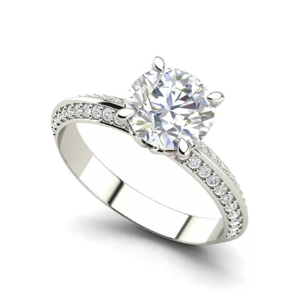 Pave Milgrave 1.35 Carat VS1 Clarity D Color Round Cut Diamond Engagement Ring White Gold
