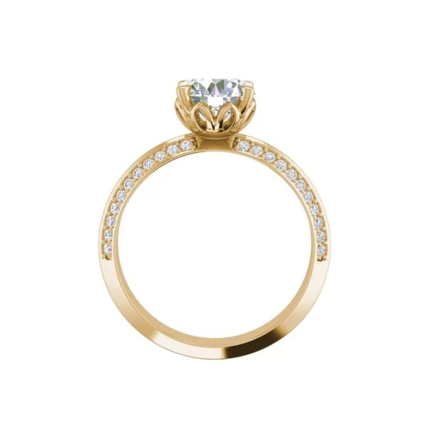 Pave Milgrave 1.35 Carat VS1 Clarity D Color Round Cut Diamond Engagement Ring Yellow Gold 2
