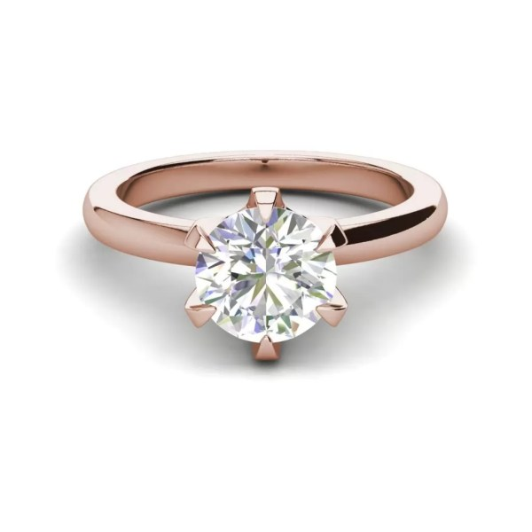 Solitaire 0.9 Carat VS2 Clarity D Color Round Cut Diamond Engagement Ring Rose Gold 3