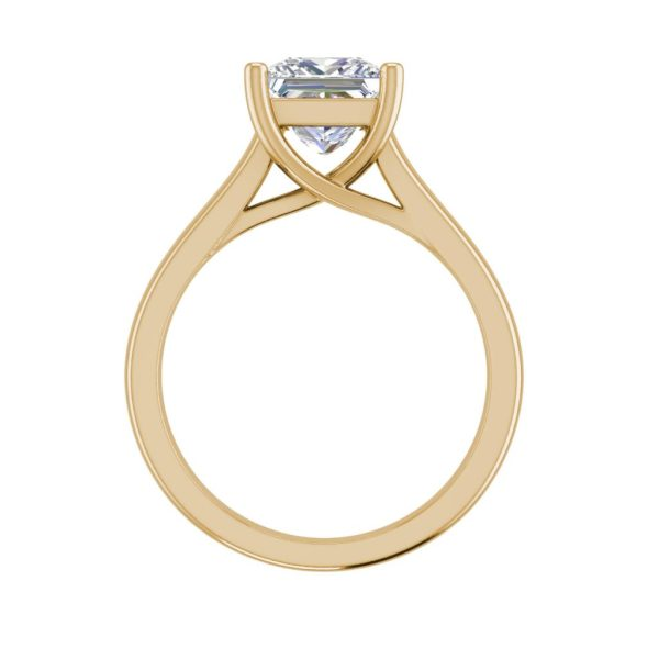 Solitaire 2.75 Carat SI1 Clarity F Color Princess Cut Diamond Engagement Ring Yellow Gold 2