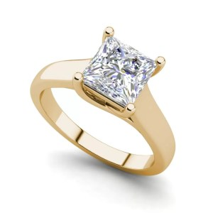 Solitaire 2.75 Carat SI1 Clarity F Color Princess Cut Diamond Engagement Ring Yellow Gold