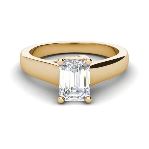 Trellis Solitaire 0.9 Ct VS2 Clarity D Color Emerald Cut Diamond Engagement Ring Yellow Gold 3