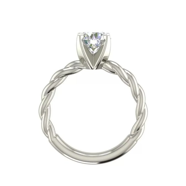 Twist Solitaire 0.9 Carat SI1 Clarity D Color Round Cut Diamond Engagement Ring White Gold 2