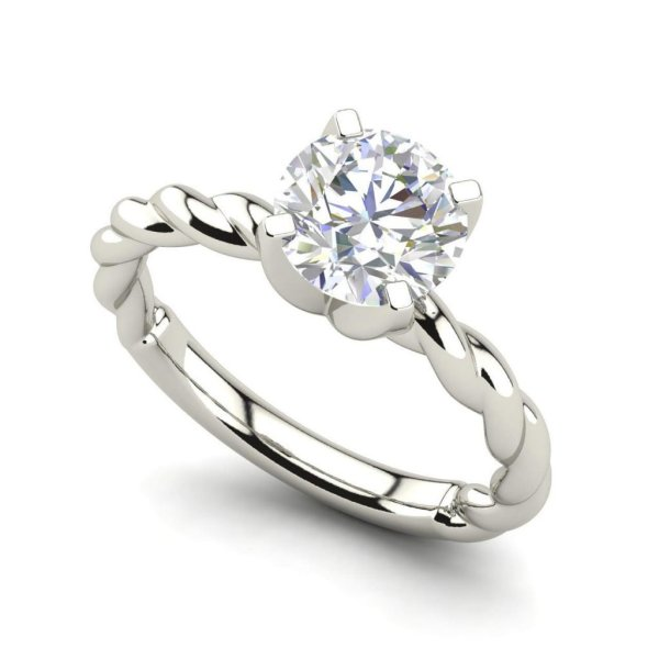 Twist Solitaire 0.9 Carat SI1 Clarity D Color Round Cut Diamond Engagement Ring White Gold