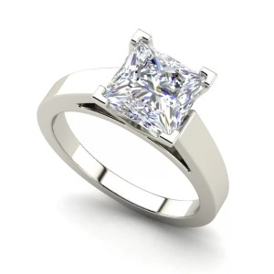 Cathedral 0.5 Carat Princess Cut White Gold Diamond Ring