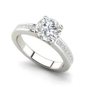 Channel Set 0.95 Carat Round Cut Diamond Engagement Ring