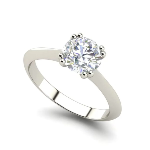 Double Prong 0.5 Carat Round Cut Diamond Engagement Ring