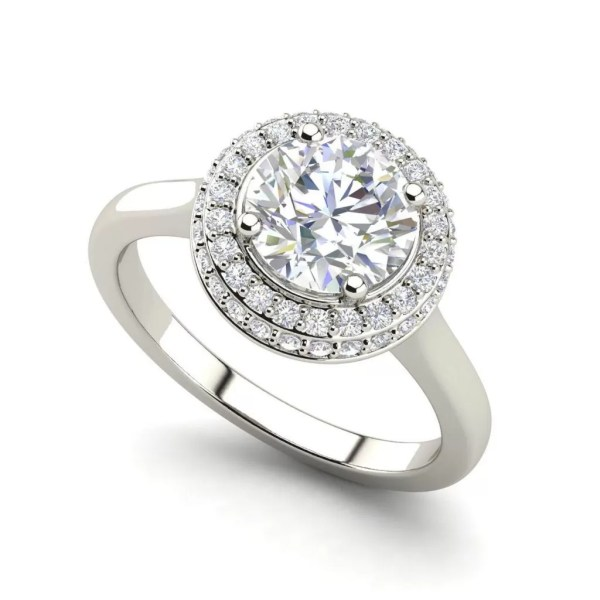 Halo Pave 0.75 Carat Round Cut Diamond Engagement Ring